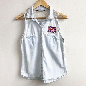 Zara : Sleeveless Chambray Button Up Size Medium